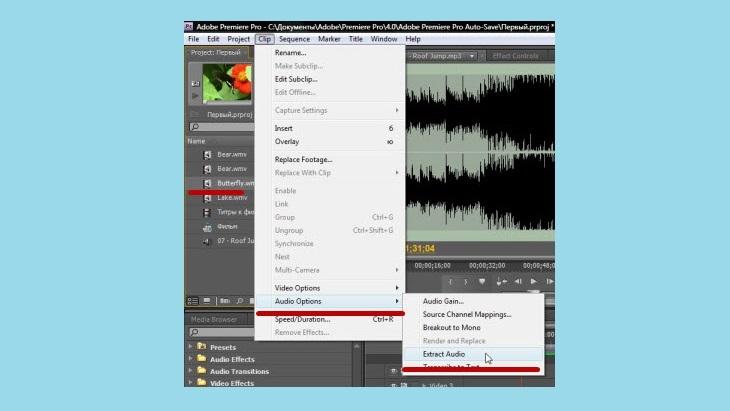 Выделить звук в Adobe Premiere