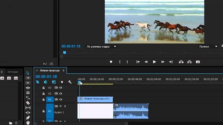 Удалить звуковую дорожку в Adobe Premiere