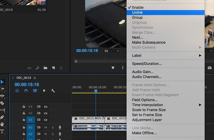 Убрать связь между видео и аудиофайлом