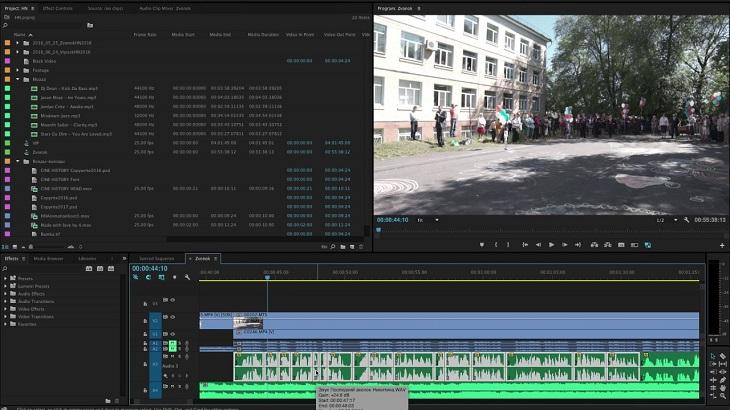 Работа со звуком в Adobe Premiere