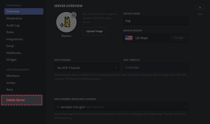 Удаление сервера Дискорд