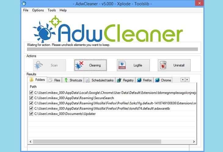 Очистка вредоносных программ утилитой AdwCleaner