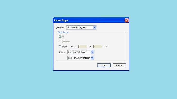 Поворот листков Adobe Reader