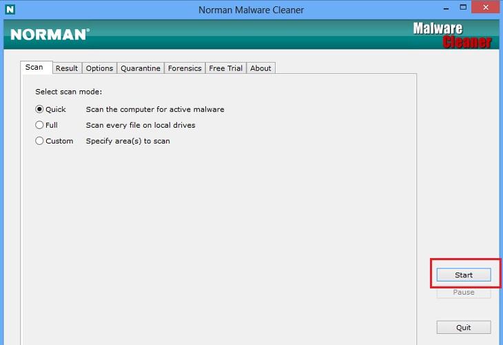 Удаление с помощью Norman Malware Cleaner