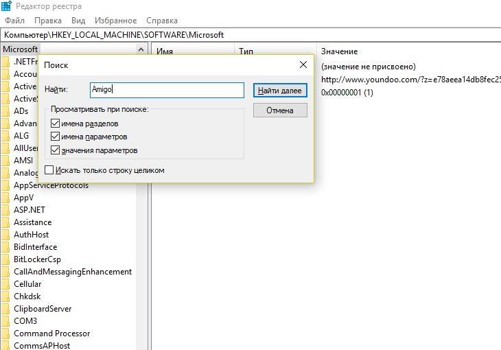Поиск в реестре файлов amigo