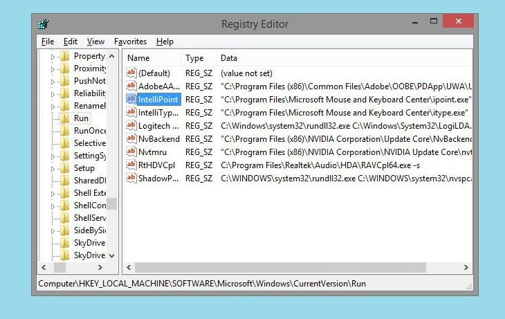 Окно Registry Editor