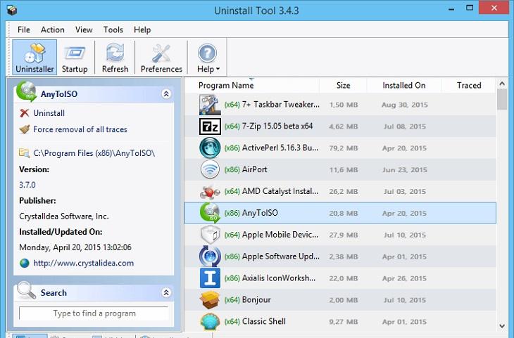 Удаление программы через Uninstall Tool