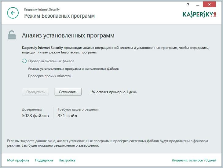 Работа приложения Kaspersky Internet Security