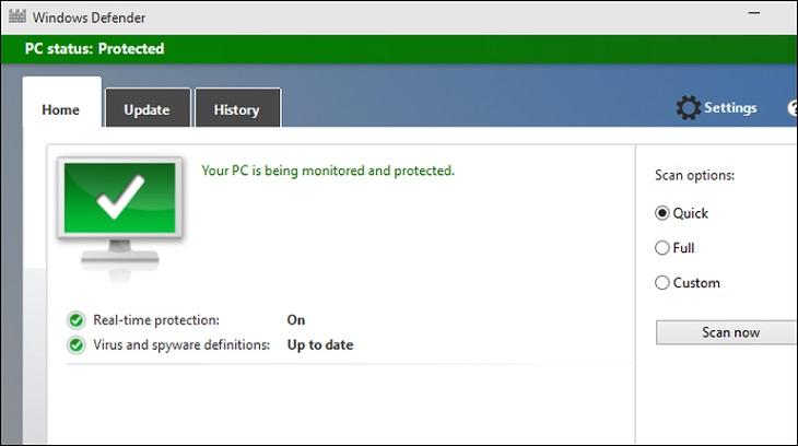 Приложение Windows Defender