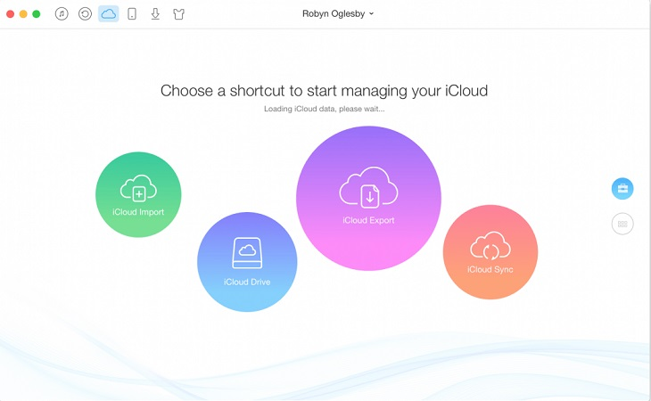 Choose a shortcut to start managing your iCloud