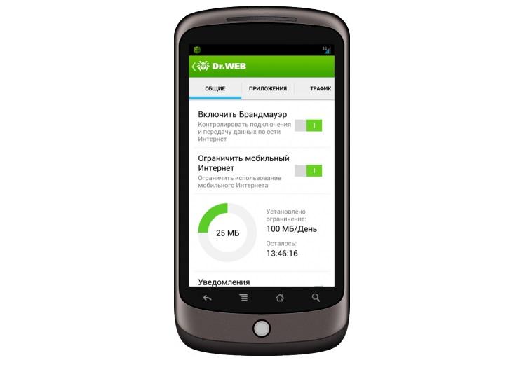 Работа приложения Dr.Web Mobile Security