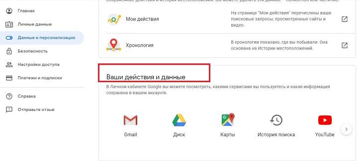 Действия и данные в кабинете Гугл