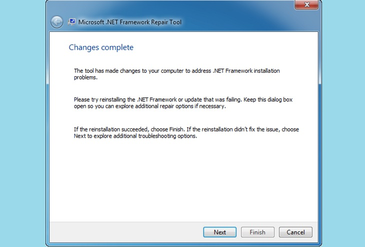 Changes complete .Net – Repair Tool