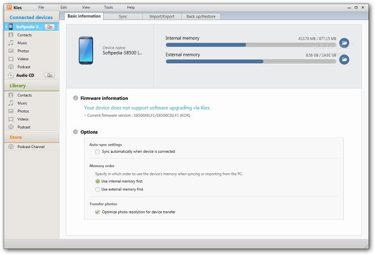Восстановление данных в приложении Samsung Kies
