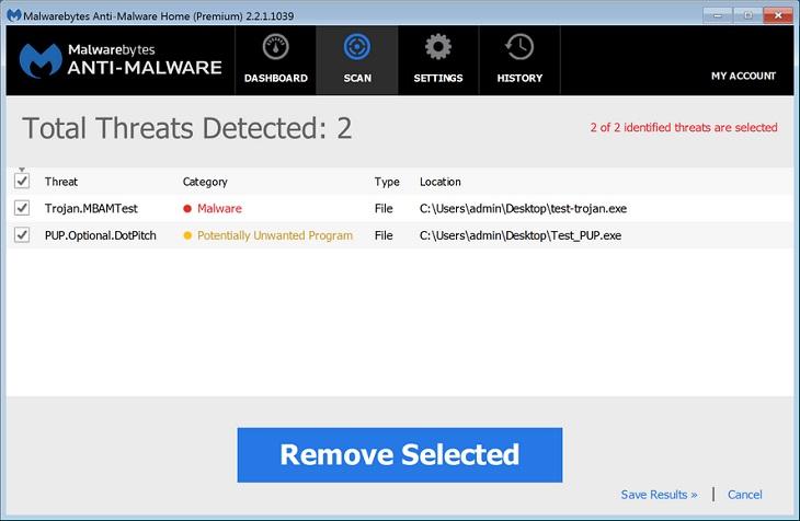 Процесс сканирования в MalwareBytes