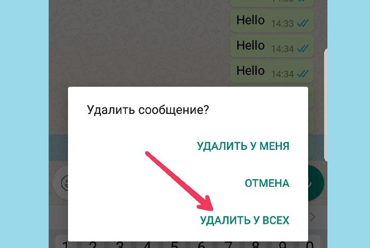 Сообщение WhatsApp - Удалить у всех
