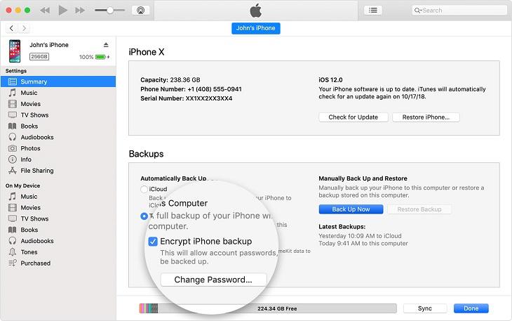 Зашифровать резервную копию iPhone