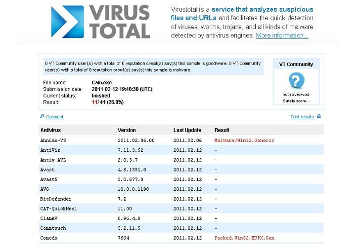 Программа VirusTotal