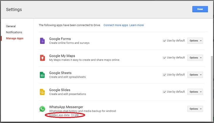 Whatsapp на диске Google