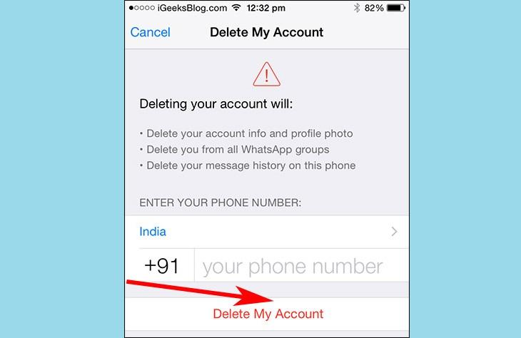 Удаление аккаунта Whatsapp на iPhone