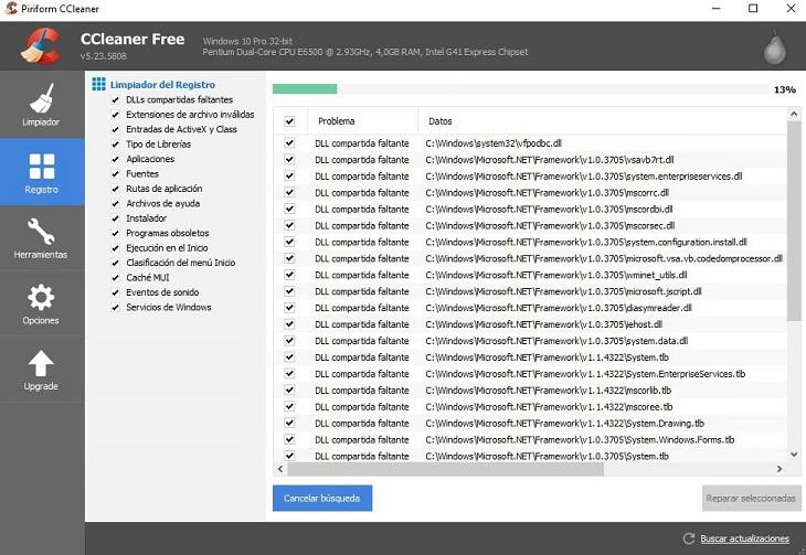 CCleaner Исправление реестра