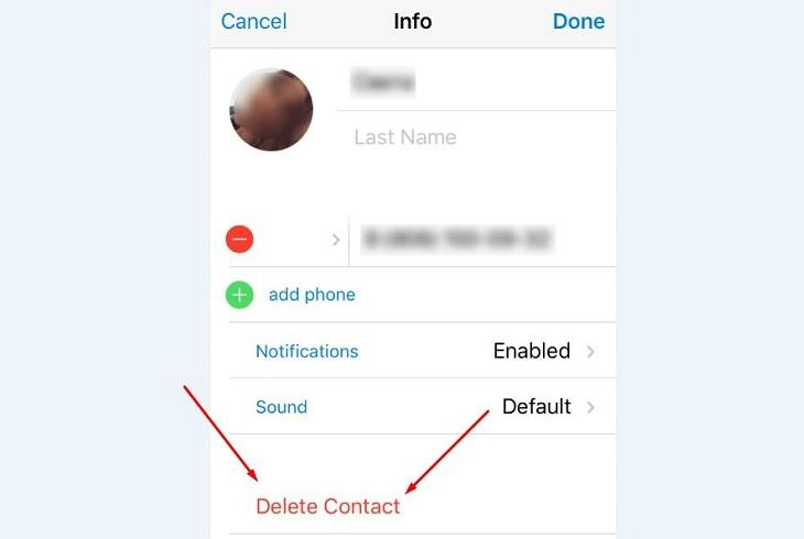 Удалить контакт Телеграмм