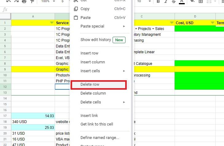 Сортировка пустых строк в Гугл таблицах