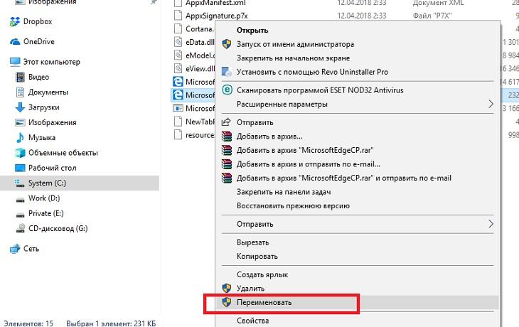 Переименование файлов приложения MicrosoftEdge.exe