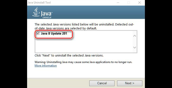 Удаление Java с помощью Java Uninstall Tools